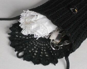 Black crochet bag long strap mini shoulder purse black crochet lace women's travel accessory