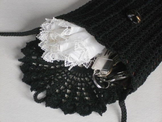 Crochet Bag Strap : Black crochet bag long strap mini shoulder purse black crochet lace ...