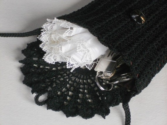 Black crochet bag long strap mini shoulder purse black crochet lace women's travel accessory