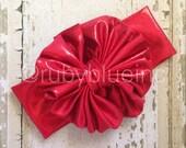 Red Metallic Messy Bow Rubywrap Head Wrap
