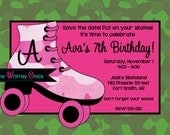 Roller Skating Birthday Invitation - Printable - Printed - Roller Skate Birthday Party Invitation - Roller Rink Birthday Invite - Pink Green