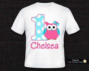 Personalized Owl 1st Birthday T Shirt or Bodysuit