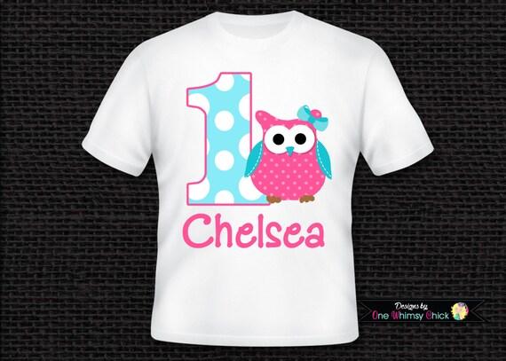 Personalized Owl 1st Birthday T Shirt or Bodysuit