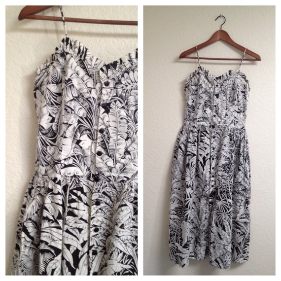 vintage 1950s PARADISE black and white day dress XXS or XS