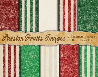 Shabby Chic Christmas Digital Papers- Block Printed Basics paper pack--Instant Download