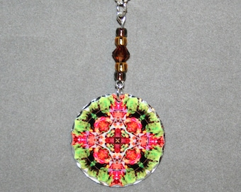 Mandala Pendant Charm Necklace Autumn Leaf Sacred Geometry Kaleidoscope Boho Chic Unique Gift For Her New Age Mod Hippie Fall Dreamcatcher