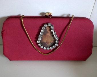 Bobbi Jerome, Vintage clutch, Altered handbag, mini bag,Wall art, Religious, Scapular, Rhinestones