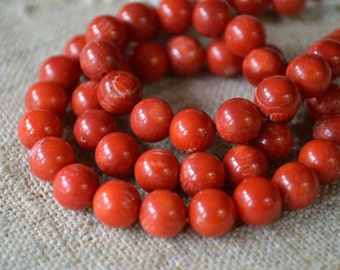 50pcs Natural Gemstone Beads 8mm Red Bamboo Coral Round Corals 16 Inches Strand