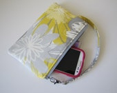 Floral Wristlet Wallet, Zipper Pouch, iPhone Wristlet Wallet, Gadget Pouch, Under 20, Holiday Gift Idea For Her