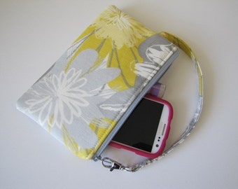 SALE- Floral Wristlet Wallet, Zipper Pouch, iPhone Wristlet Wallet, Gadget Pouch, Under 20, Holiday Gift Idea For Her