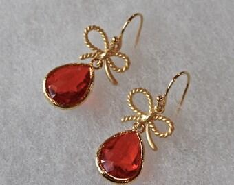 Bow Earrings, Red Glass Stone, Dangly Earrings, Gift, Holiday Earrings