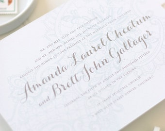 Lace Letterpress Wedding Invitation - Rustic Wedding Invite - Vintage Letterpress, Foil Stamp, Flat Printing - Lorelei - DEPOSIT