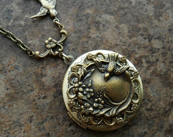 Spring Garden Brass Locket by Enchanted Lockets