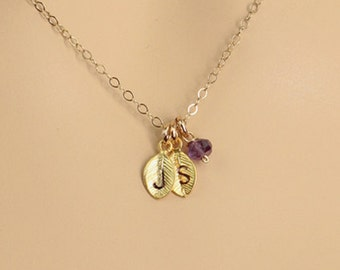 Personalized Leaf Necklace, Simple Leaf Necklace, Hand Stamped Jewelry, Gold Initial Leaf Birthstone Necklace,Monogram Charm, Gift for Her