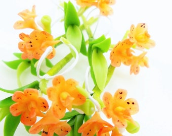 Handmade Polymer Clay Flowers Supplies Tropical Orchid with leaves, Vanda 3 sets