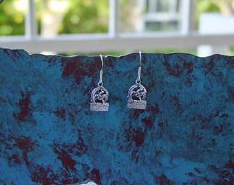 Equestrian Hunter Jumper Over Brick Fence Charm Earrings Sterling Silver,Horse Jewelry,Equestrian Earrings