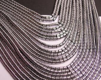 Hematite silver - 3mm tube beads - full strand - 130 beads - AA quality - 3x3 - PHG73