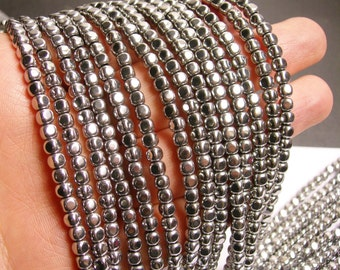 Hematite silver - 4mm rounded cube beads - full strand - 105 beads - A quality - PHG85