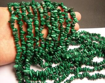 Malachite Gemstone - chip stone - pebble bead - full strand - 36 inch Genuine Malachite - PSC1