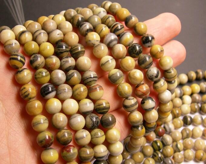 Australian zebra jasper- 8 mm round beads -1 full strand - 48 beads - RFG146