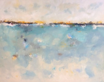 Large Abstract Seascape Original Painting - Colorful Calm 72 x 48