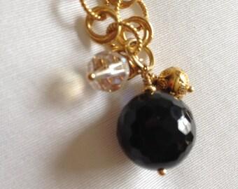 NECKLACE, SARDONYX, VINTAGE Faceted Aurora Borealis Bead, Gold on Copper Chain, Gold Pendant, Crystal, Brilliant