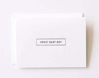 Sweet Baby Boy - Letterpress Printed Greeting Card