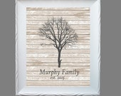 Custom FAMILY TREE gray wash white wash pallet wood Art Print - Modern Home Decor