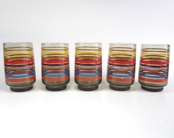 Five 1970s Amber Topaz Drinking Glasses with Rainbow Stripes - retro modern