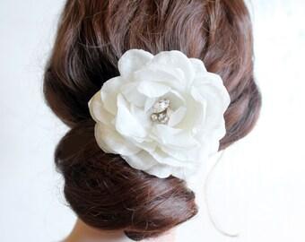 Silk flower, bridal hair pin, headpiece, hair accessory with Swarovski crystals