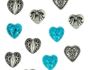 Jesse James Button Embellishments Novelty Buttons Silver Turquoise Hearts