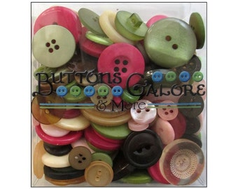 Buttons Galore Totes Rose Garden Pink Brown Green Cream Mixed Bulk Buttons Sewing Crafts