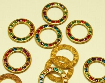 Vintage Swarovski Multi Color Crystal 15mm Brass Circle Finding (4)