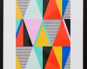 Graphic Triangles - framed art print