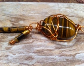 TIGER'S EYE Exotically Wire Wrapped Abstract Design With Dangling Tubular Beads One of a Kind For the Woman who loves UniQue and DiFFerenT