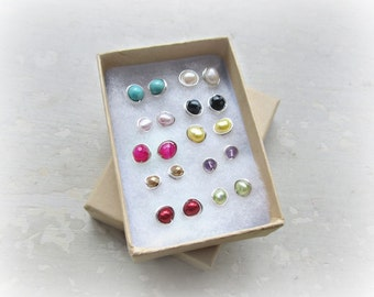 Bulk Stud Earrings, Designer's Choice Stud Earrings, Wholesale Post Earrings, 10 Pair Earring Assortment, Wholesale Earrings, Stone Posts