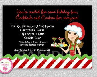 Cookie Exchange invitation,  Cookie Swap Invitation Cookies and Cocktails Invitation Printable
