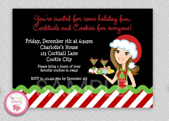 Cookie Exchange invitation,  Cookie Swap Invitation Cookies and Cocktails Invitation Printable