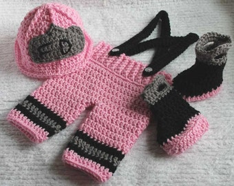 Made to Order Crochet 3 Piece Fire Fighter Set. Photo Prop You Choose Color and Size