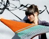 Kerchief Knit Scarf - Striped, Textured, Geometric - Butterscotch, Sea Green, Grey