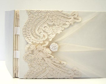 Personalized Wedding GuestBook, photo guestbook, Ivory on White, Alencon Lace