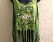 Rockin SXSW 2014 ACID wash tank top with fringe, L, one size fits all