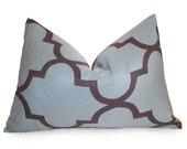 SALE - Moroccan Quatrefoil Lattice Designer Pillow Cover - Teal - Taupe - 12x18 inch - Lattice Pillow - Lumbar Pillow - Accent Pillow