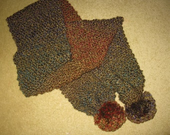 Hand Knitted Scarf with Pom Poms