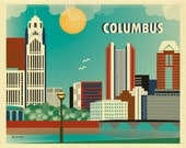 Columbus Skyline Print, Ohio Wall Art, Columbus Wall Art, Columbus Horizontal Print, Columbus Office Art,  Columbus Nursery - style E8-O-COL