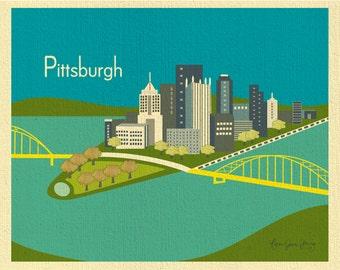 Pittsburgh Skyline Print, Pittsburgh Wall Art, Pittsburgh Artwork, Pittsburgh PA Print  - style blue E8-O-PIT2