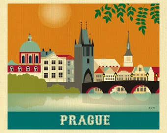 Prague Skyline Print, Prague Art, Czech Republic Wall Art, Retro Prague horizontal Travel Artwork, Prague Art Print, Gift  - style E8-O-PRA