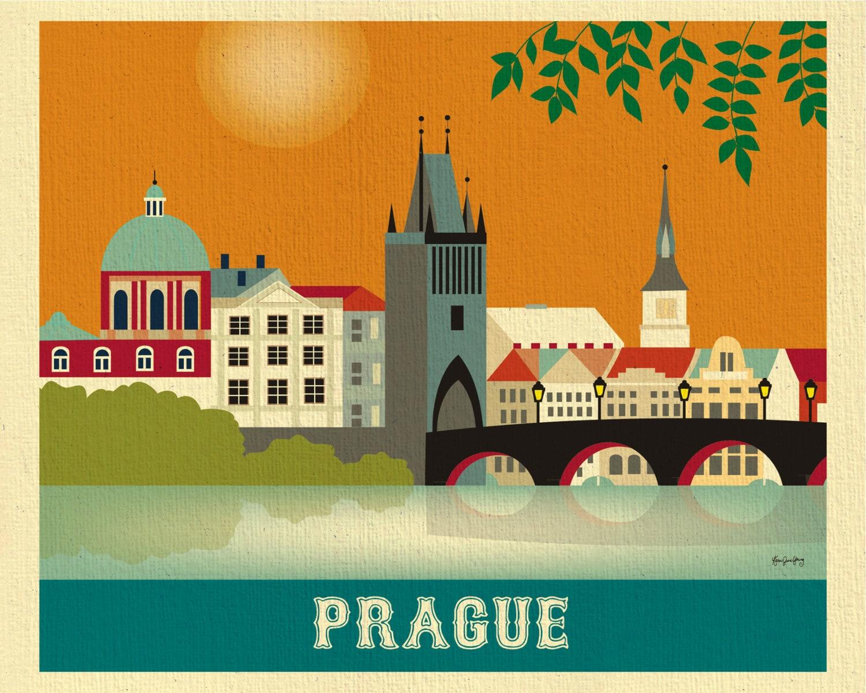 Color art printing anchorage - Prague Skyline Print Prague Art Czech Republic Wall Art Retro Prague Horizontal Travel