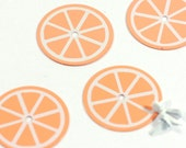 4 Orange Scrapbooking Brads, Sweet Fruit Metal Brads, scrapbook embellishment paper brads, large brads Cardmaking