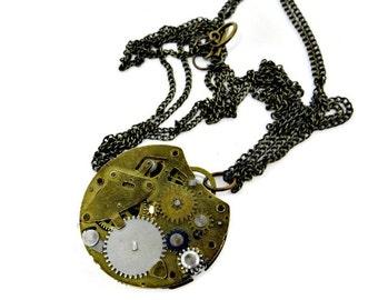 Steampunk Vintage Pocket Watch Movement Brass Necklace